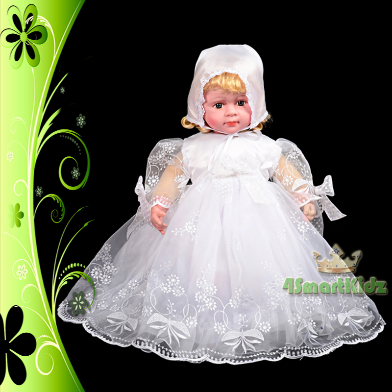 Baby girl infant baptism christening dress gown bonnet for Making baptism dress from wedding gown