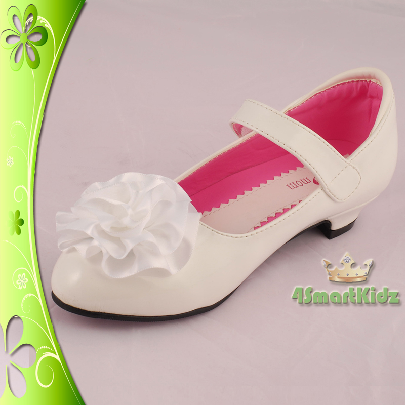 white wedding flower girl bridesmaid party shoes size 3 ebay. Black Bedroom Furniture Sets. Home Design Ideas